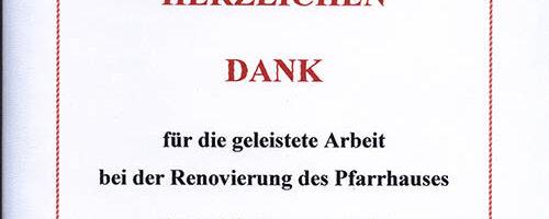 2005.Pfarrhaus Herdeck1Danksagung
